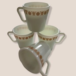 4 Vintage Gold Butterfly Pyrex Milk Cups